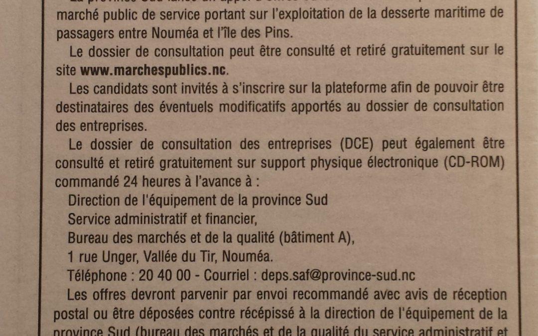 Appel d'offre de la PS pour la desserte maritime de l'île des Pins